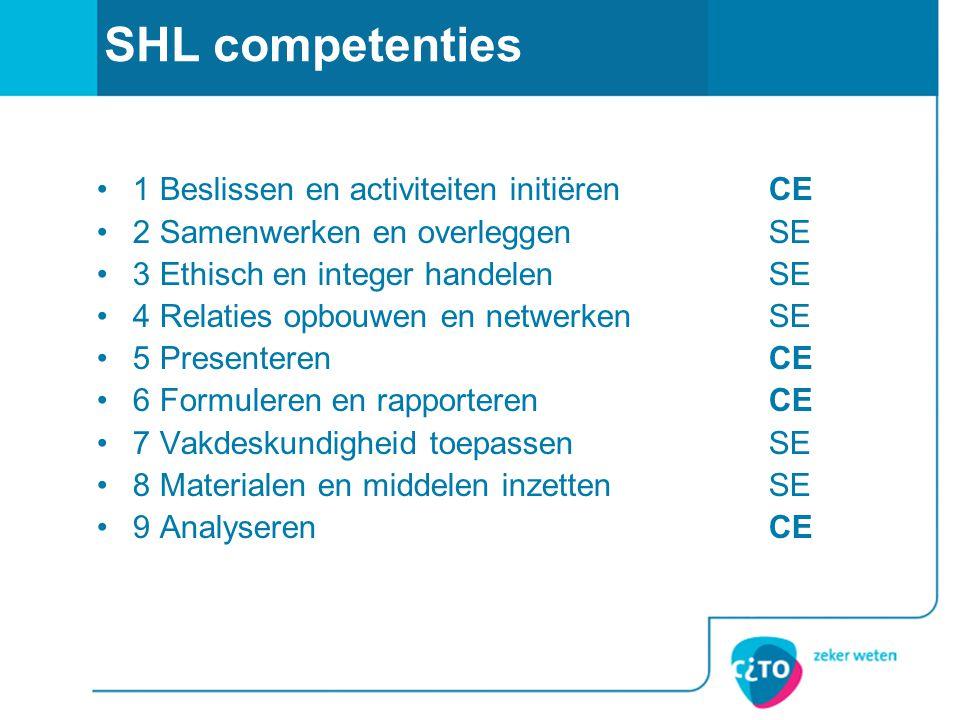SHL competenties 1 Beslissen en activiteiten initiëren CE