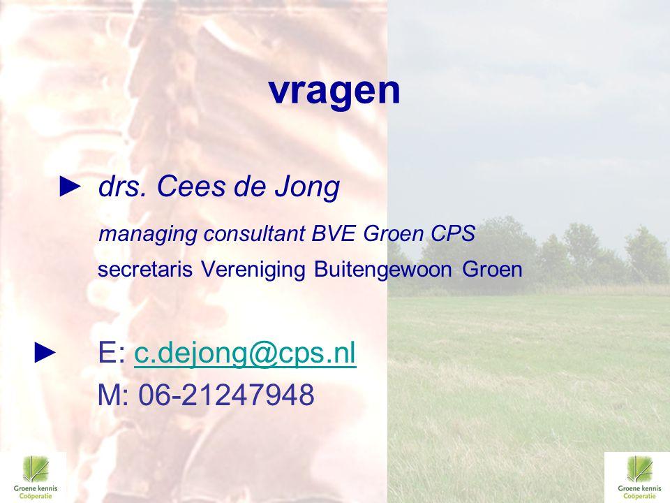 vragen ► drs. Cees de Jong