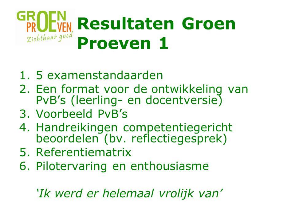 Resultaten Groen Proeven 1