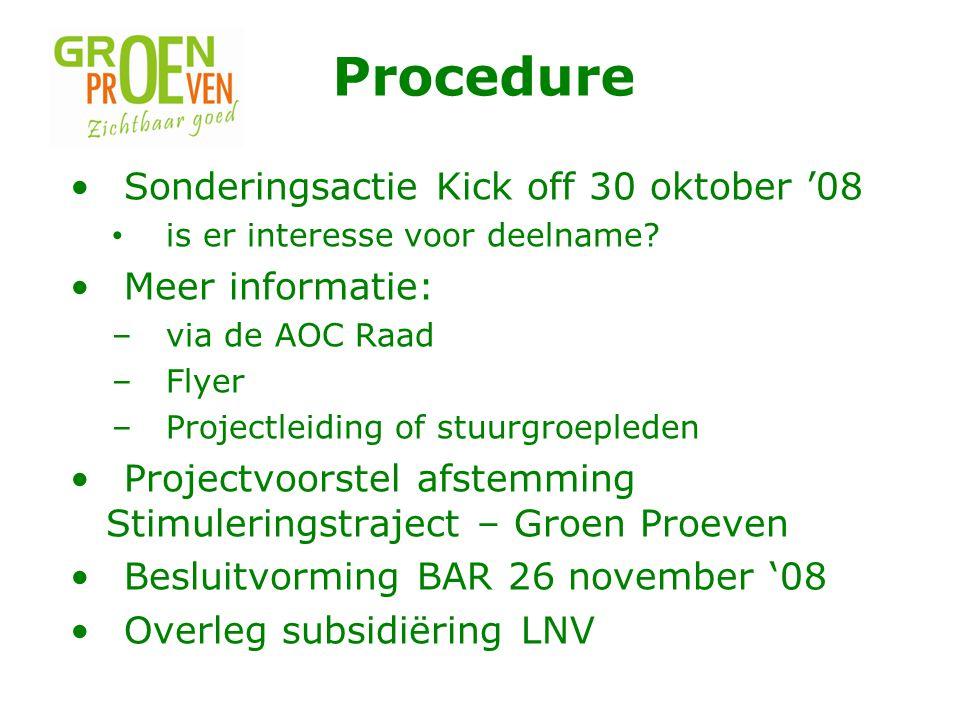 Procedure Sonderingsactie Kick off 30 oktober '08 Meer informatie: