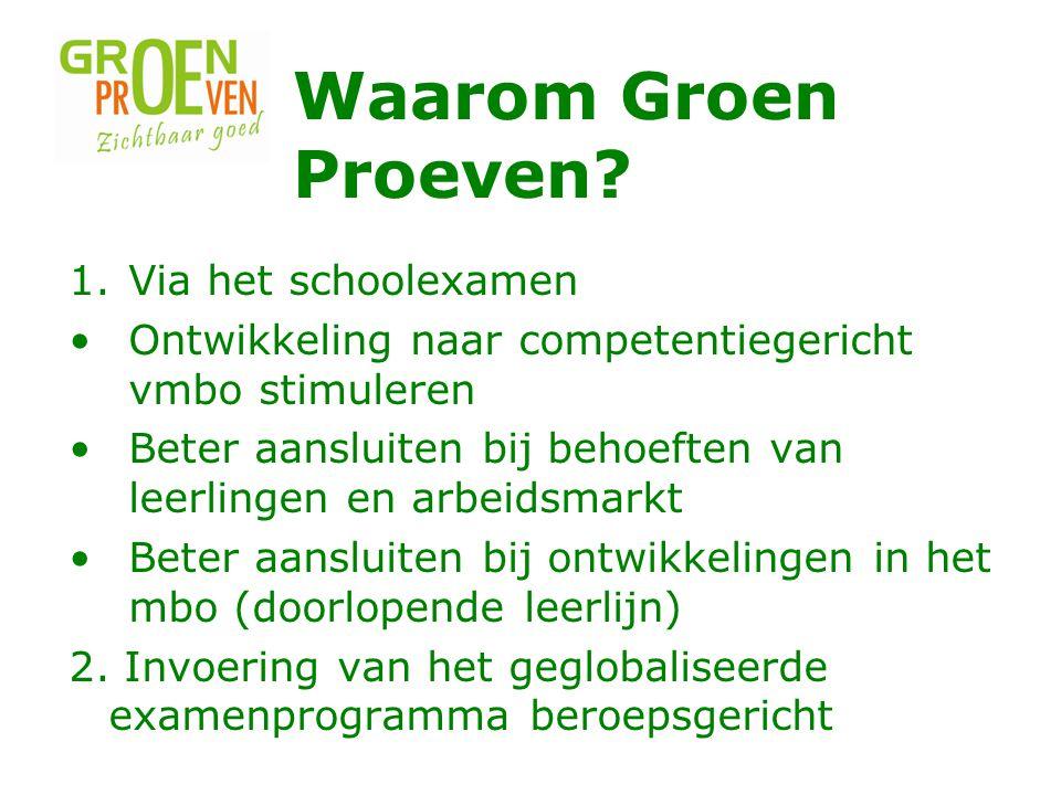 Waarom Groen Proeven Via het schoolexamen
