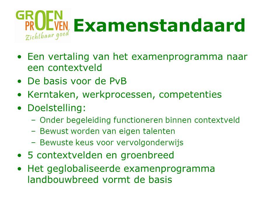 Examenstandaard Een vertaling van het examenprogramma naar een contextveld. De basis voor de PvB. Kerntaken, werkprocessen, competenties.