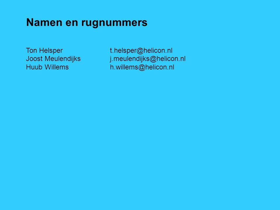 Namen en rugnummers Ton Helsper t.helsper@helicon.nl