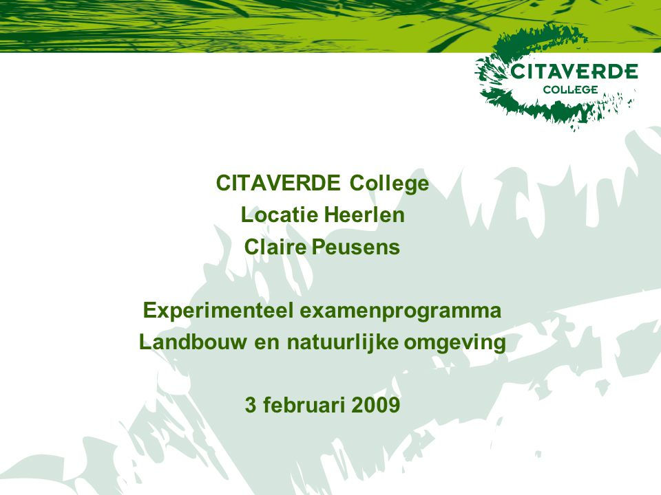 Experimenteel examenprogramma Landbouw en natuurlijke omgeving