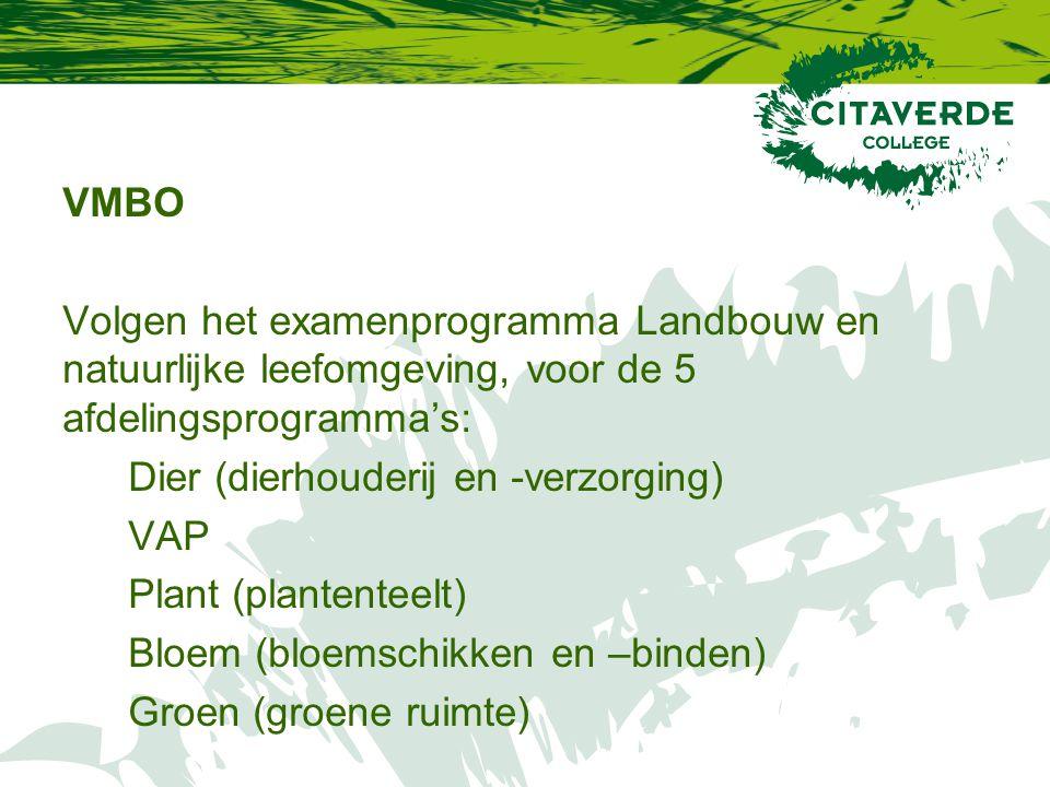 VMBO Volgen het examenprogramma Landbouw en natuurlijke leefomgeving, voor de 5 afdelingsprogramma's: