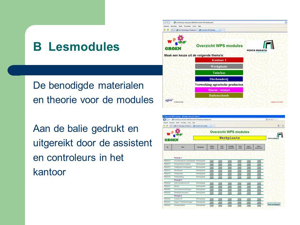 B Lesmodules De benodigde materialen en theorie voor de modules