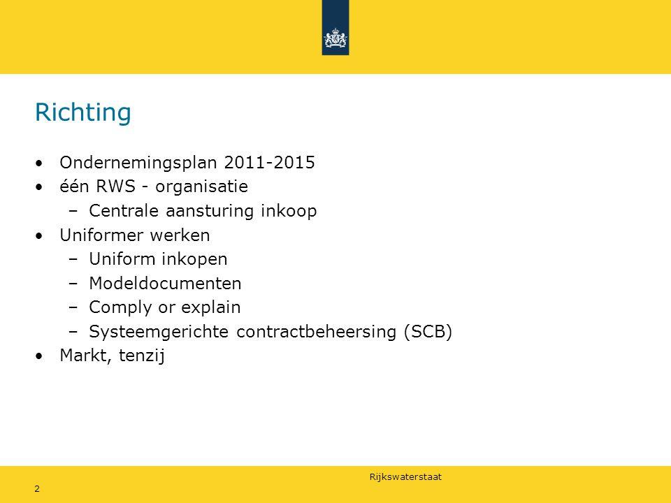Richting Ondernemingsplan 2011-2015 één RWS - organisatie