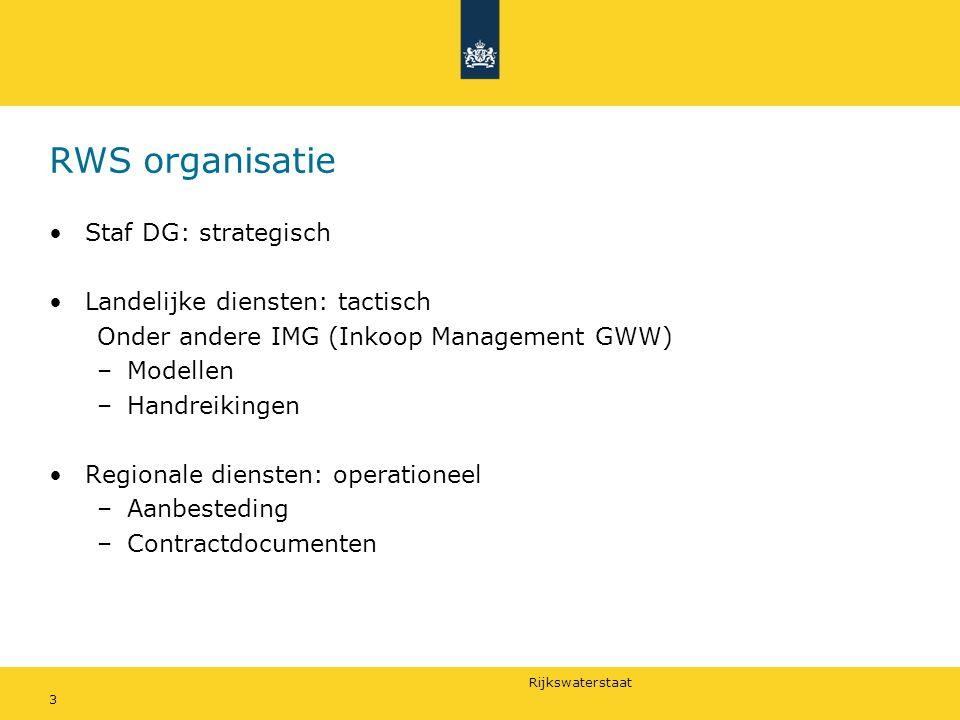 RWS organisatie Staf DG: strategisch Landelijke diensten: tactisch