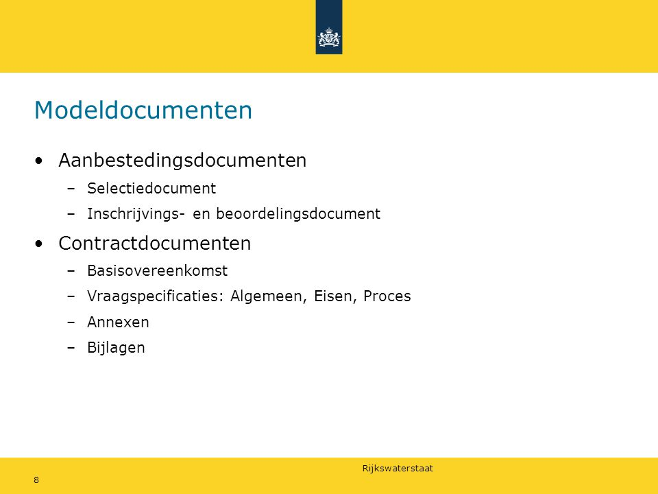 Modeldocumenten Aanbestedingsdocumenten Contractdocumenten