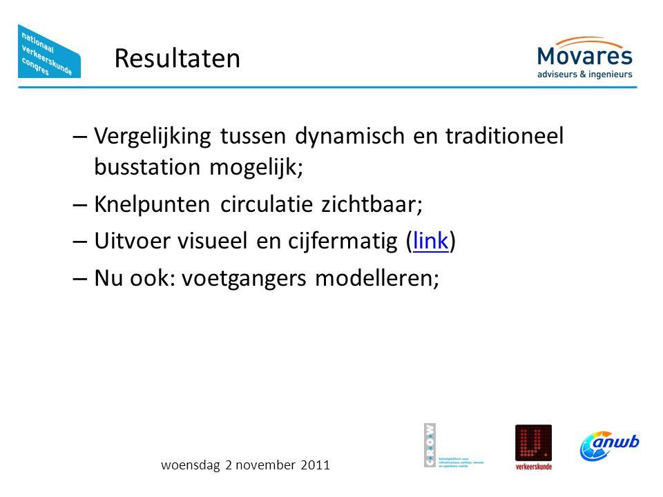 Resultaten Vergelijking tussen dynamisch en traditioneel busstation mogelijk; Knelpunten circulatie zichtbaar;