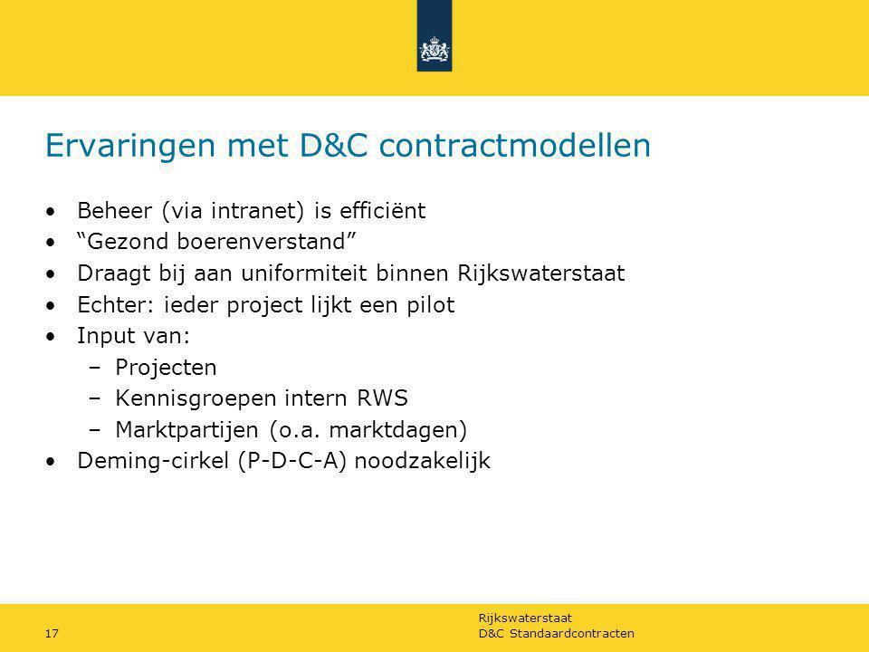 Ervaringen met D&C contractmodellen
