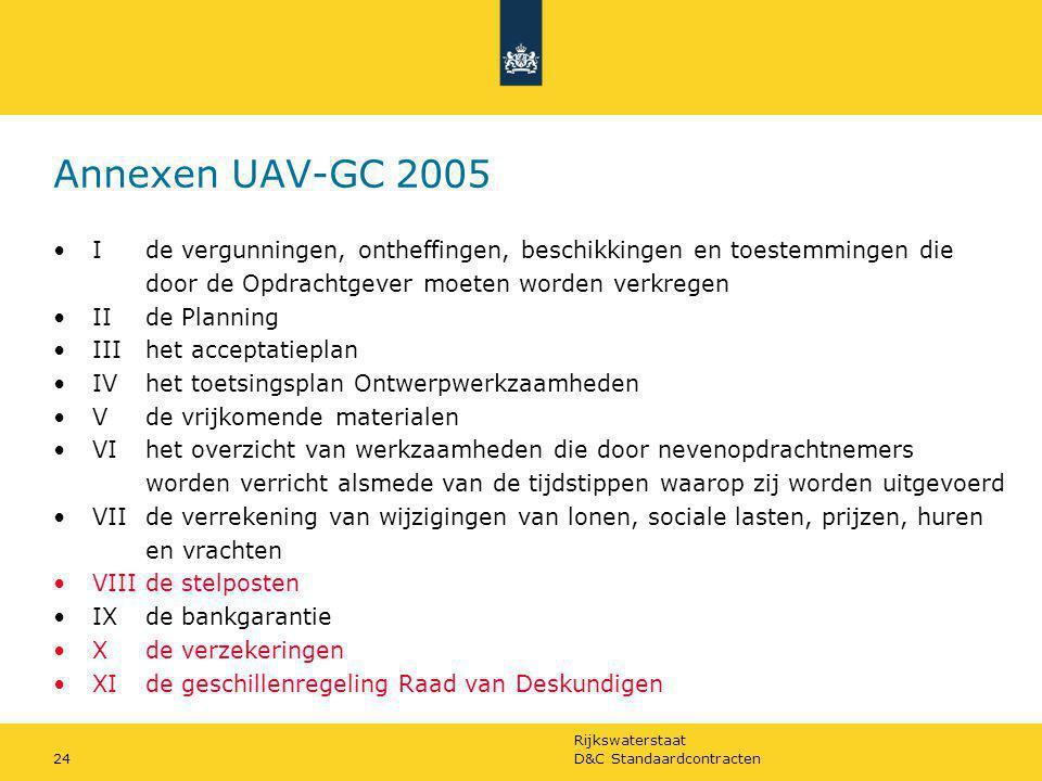 Annexen UAV-GC 2005 I de vergunningen, ontheffingen, beschikkingen en toestemmingen die. door de Opdrachtgever moeten worden verkregen.