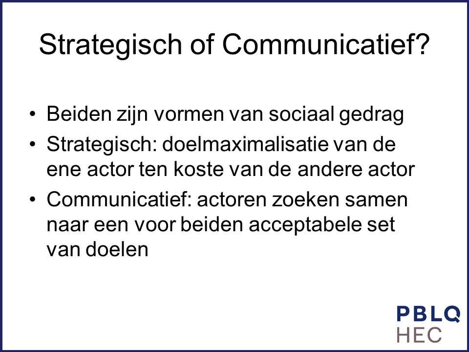 Strategisch of Communicatief