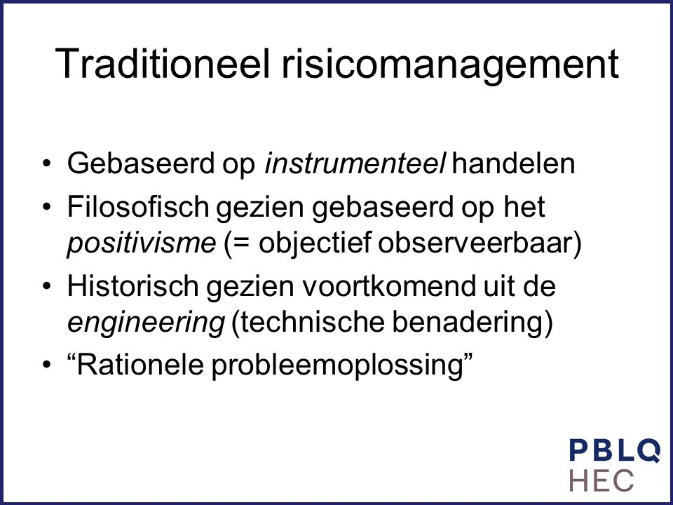 Traditioneel risicomanagement