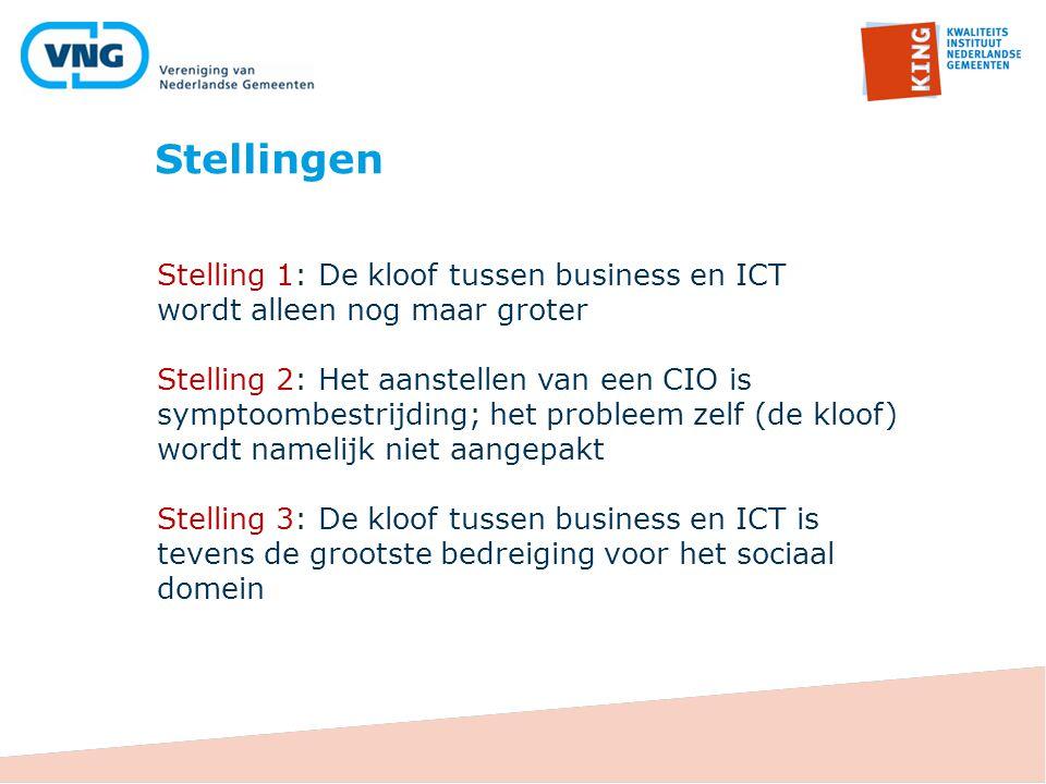 Stellingen Stelling 1: De kloof tussen business en ICT wordt alleen nog maar groter.