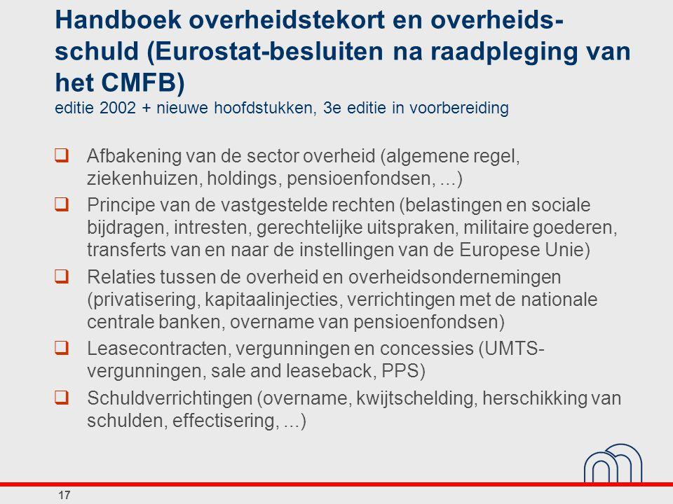Handboek overheidstekort en overheids-schuld (Eurostat-besluiten na raadpleging van het CMFB) editie 2002 + nieuwe hoofdstukken, 3e editie in voorbereiding