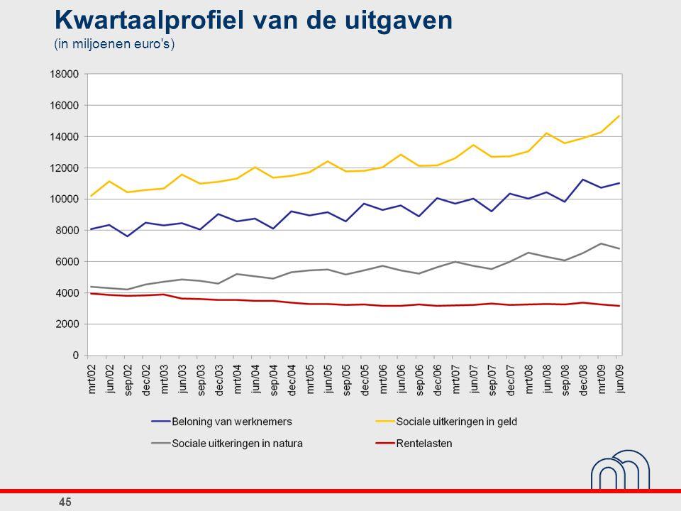 Kwartaalprofiel van de uitgaven (in miljoenen euro s)