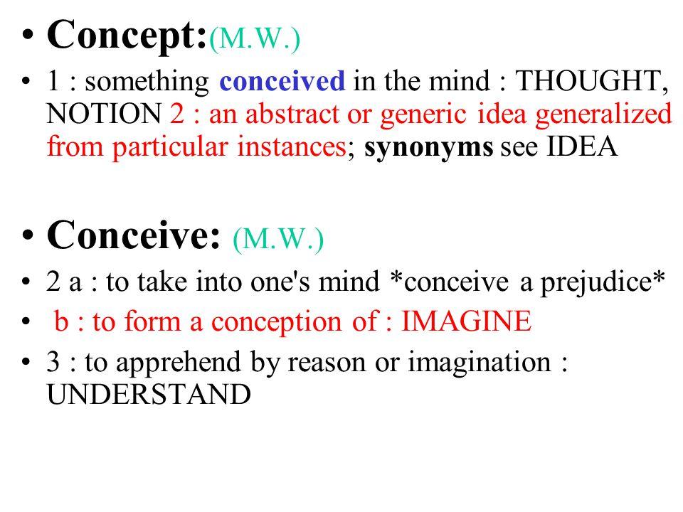 Concept:(M.W.) Conceive: (M.W.)