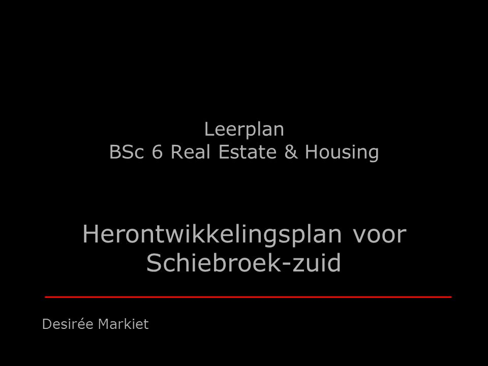 Leerplan BSc 6 Real Estate & Housing