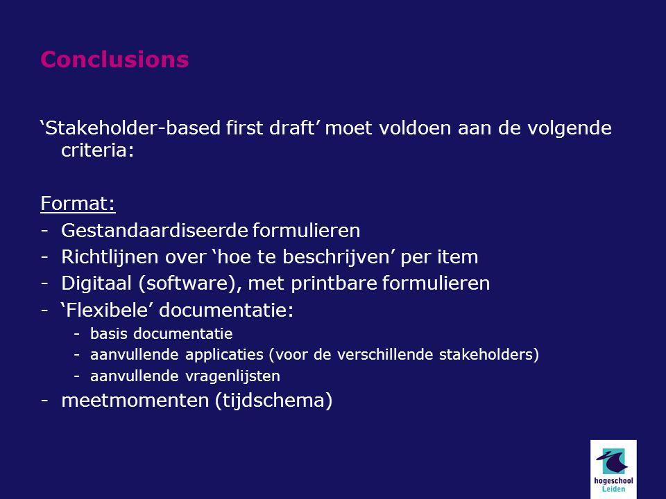 Conclusions 'Stakeholder-based first draft' moet voldoen aan de volgende criteria: Format: Gestandaardiseerde formulieren.