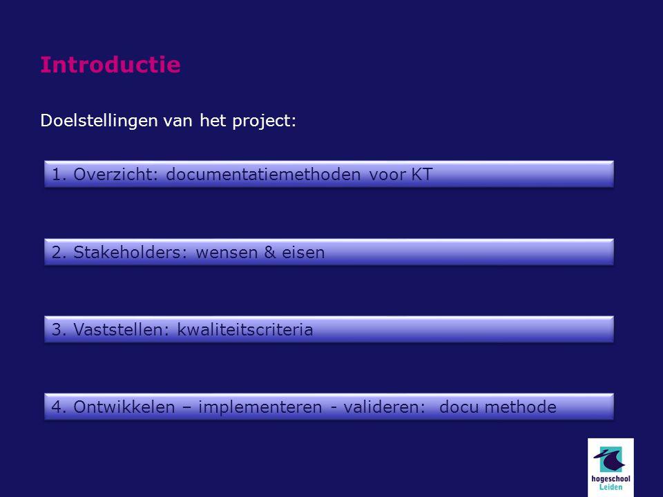 Introductie Doelstellingen van het project: