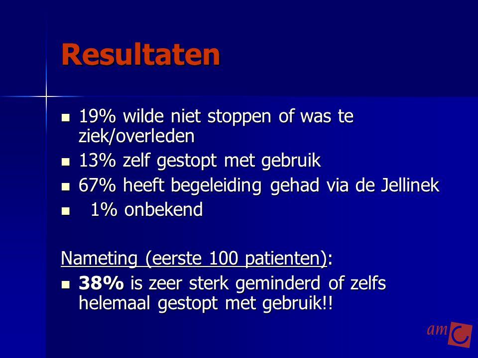 Resultaten 19% wilde niet stoppen of was te ziek/overleden