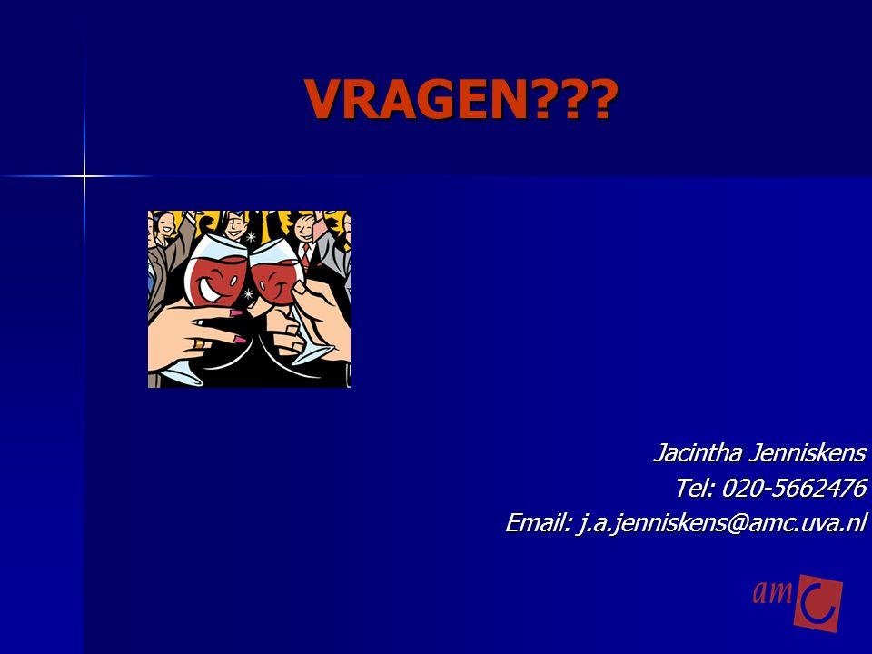 VRAGEN Jacintha Jenniskens Tel: 020-5662476