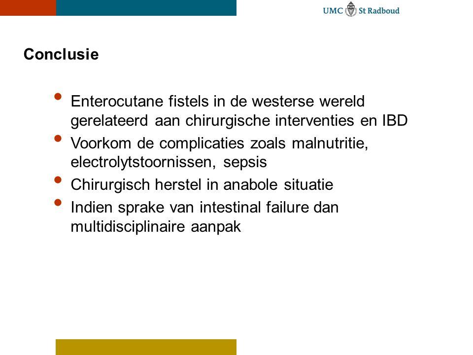 Conclusie Enterocutane fistels in de westerse wereld gerelateerd aan chirurgische interventies en IBD.