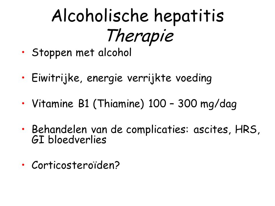 Alcoholische hepatitis Therapie