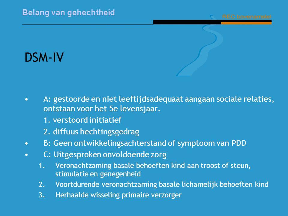DSM-IV A: gestoorde en niet leeftijdsadequaat aangaan sociale relaties, ontstaan voor het 5e levensjaar.