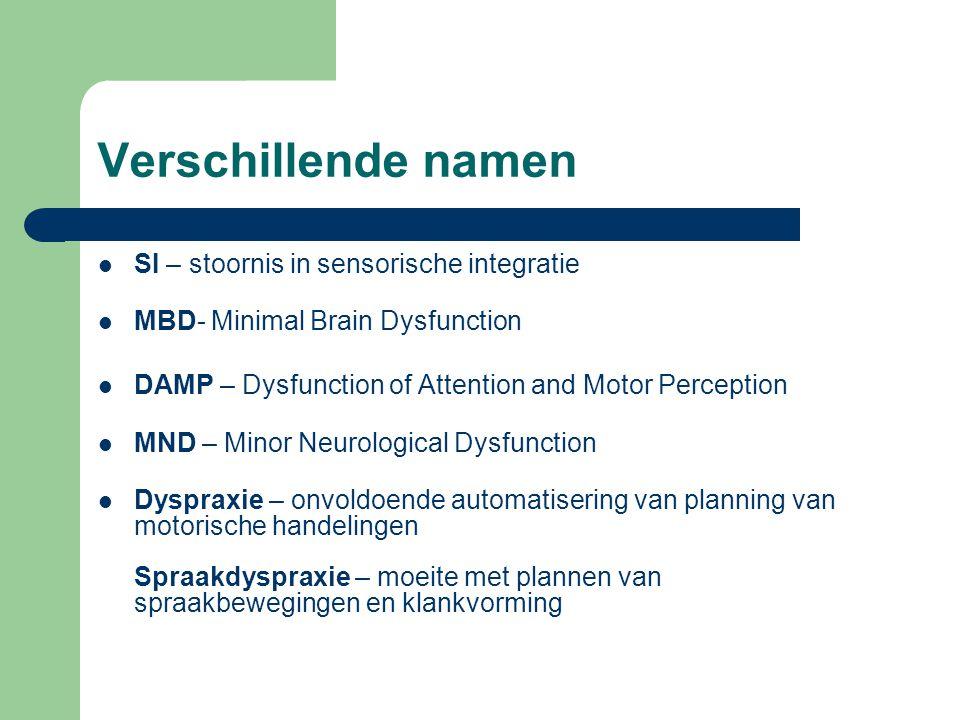 Verschillende namen SI – stoornis in sensorische integratie