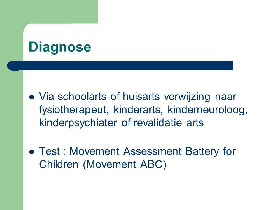 Diagnose Via schoolarts of huisarts verwijzing naar fysiotherapeut, kinderarts, kinderneuroloog, kinderpsychiater of revalidatie arts.
