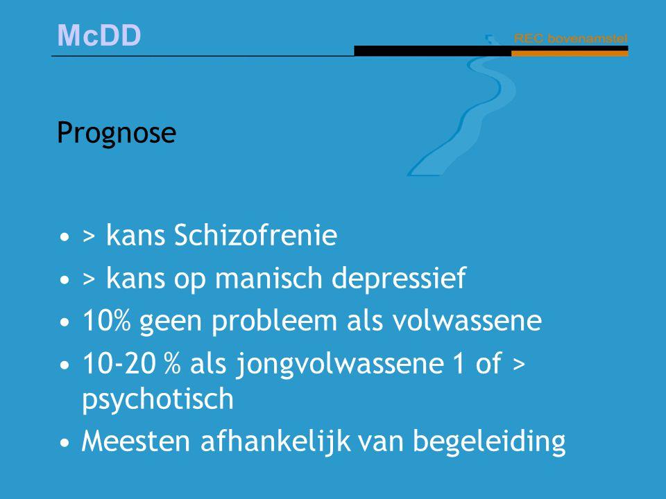 Prognose > kans Schizofrenie. > kans op manisch depressief. 10% geen probleem als volwassene. 10-20 % als jongvolwassene 1 of > psychotisch.