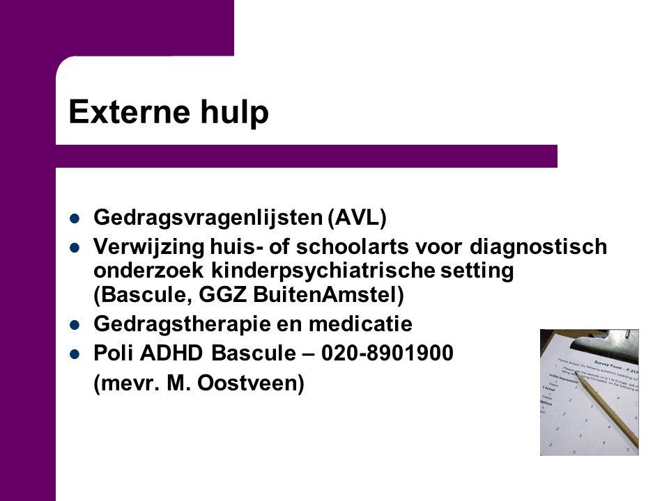 Externe hulp Gedragsvragenlijsten (AVL)