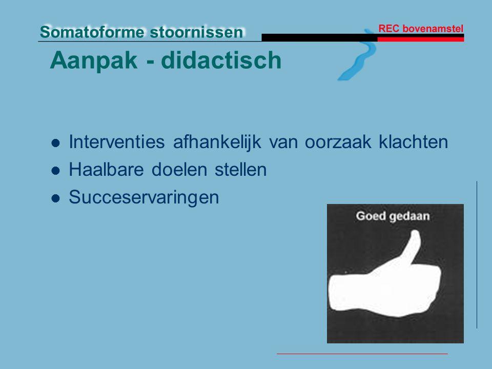 Aanpak - didactisch Interventies afhankelijk van oorzaak klachten