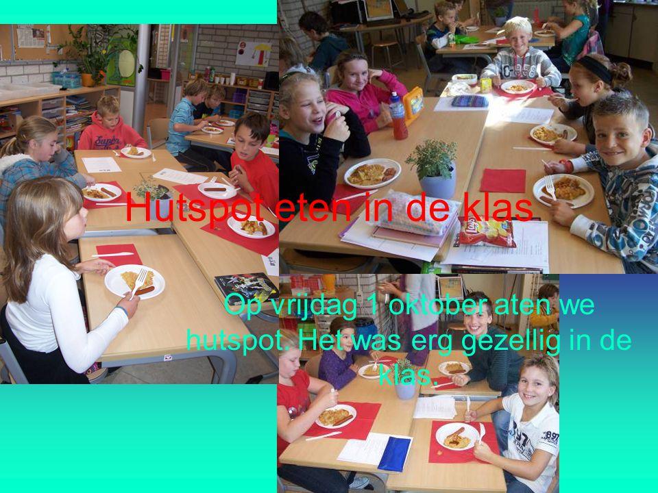 Op vrijdag 1 oktober aten we hutspot. Het was erg gezellig in de klas.