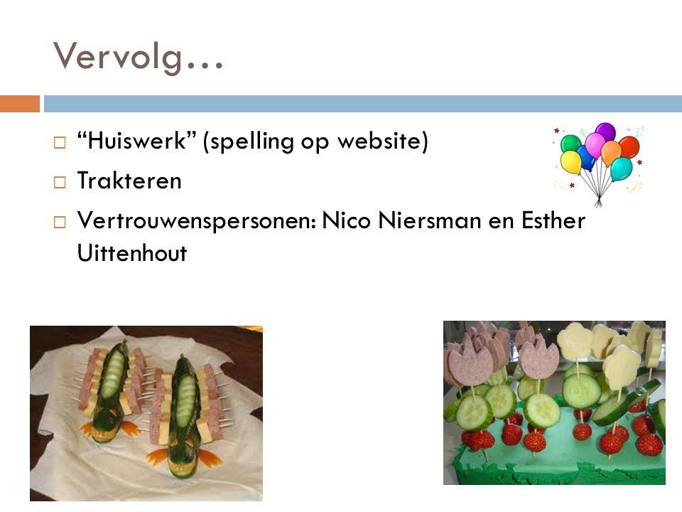 Vervolg… Huiswerk (spelling op website) Trakteren