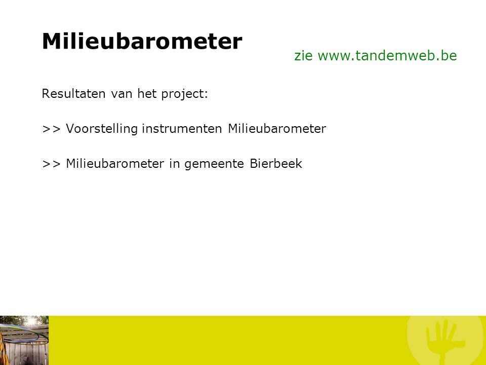 Milieubarometer zie www.tandemweb.be Resultaten van het project: