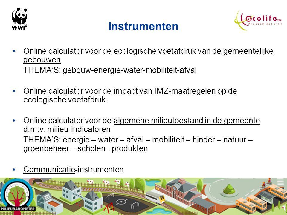 Instrumenten Online calculator voor de ecologische voetafdruk van de gemeentelijke gebouwen. THEMA'S: gebouw-energie-water-mobiliteit-afval.