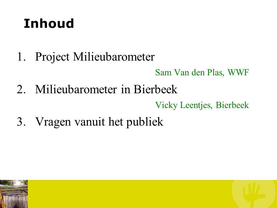Inhoud Project Milieubarometer Sam Van den Plas, WWF. Milieubarometer in Bierbeek Vicky Leentjes, Bierbeek.