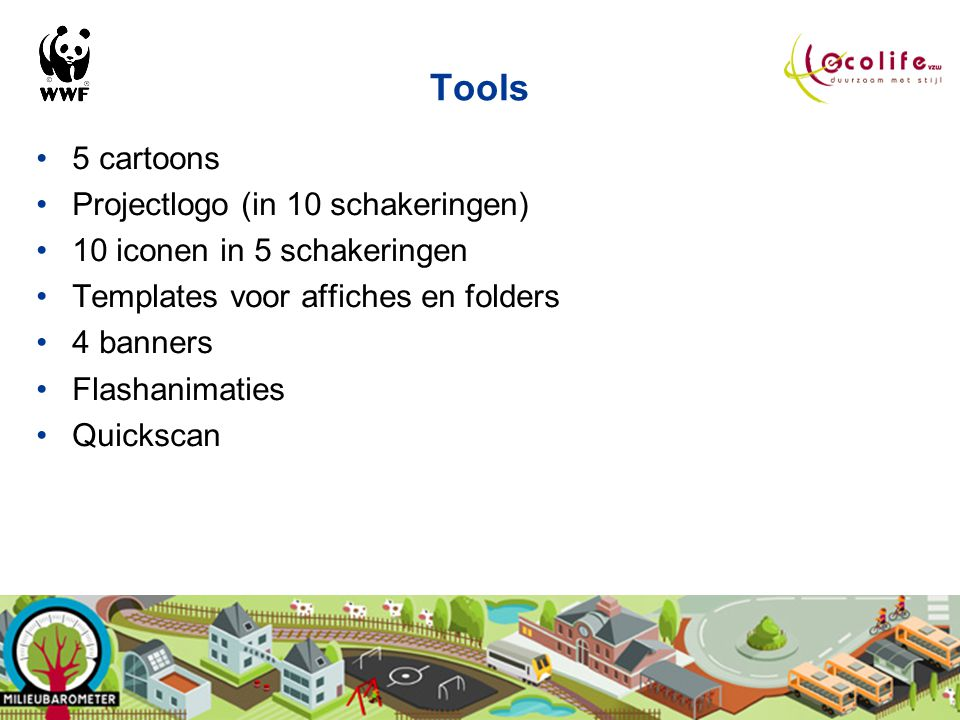 Tools 5 cartoons Projectlogo (in 10 schakeringen)