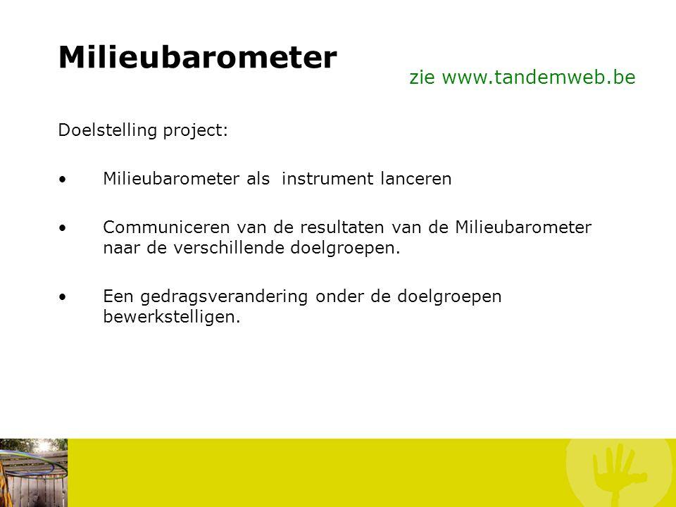 Milieubarometer zie www.tandemweb.be Doelstelling project: