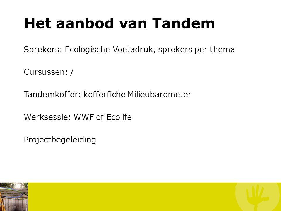 Het aanbod van Tandem Sprekers: Ecologische Voetadruk, sprekers per thema. Cursussen: / Tandemkoffer: kofferfiche Milieubarometer.