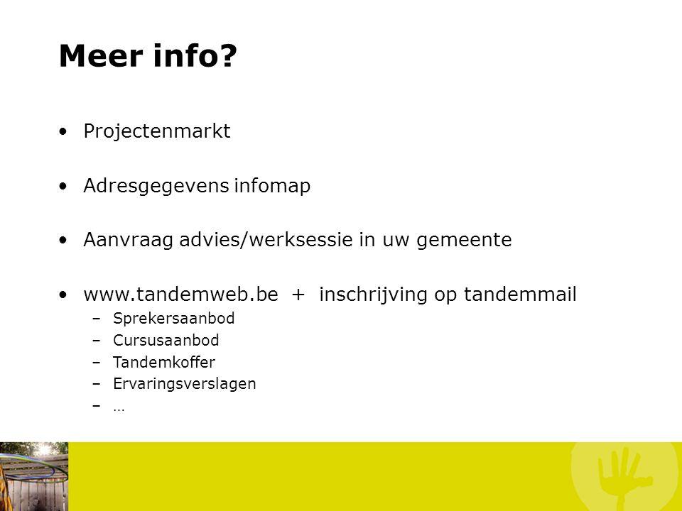 Meer info Projectenmarkt Adresgegevens infomap