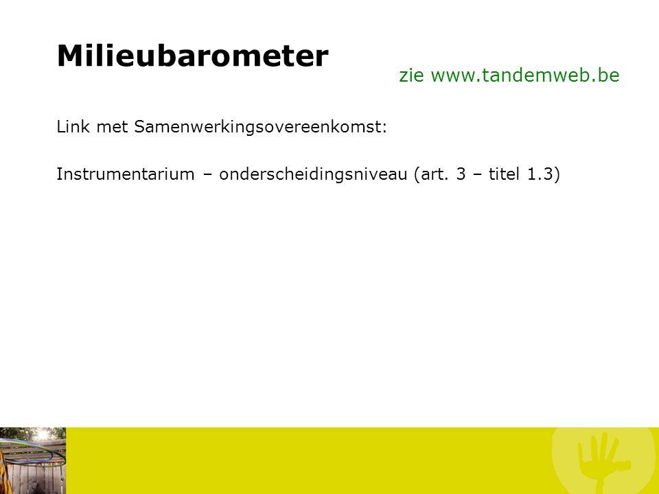 Milieubarometer zie www.tandemweb.be