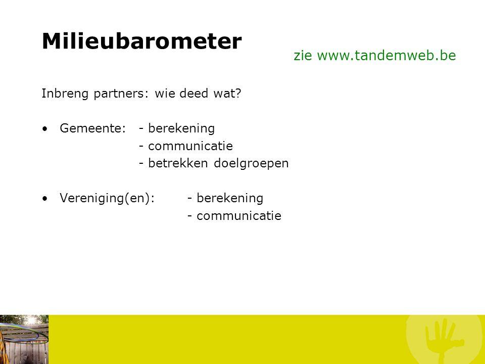 Milieubarometer zie www.tandemweb.be Inbreng partners: wie deed wat