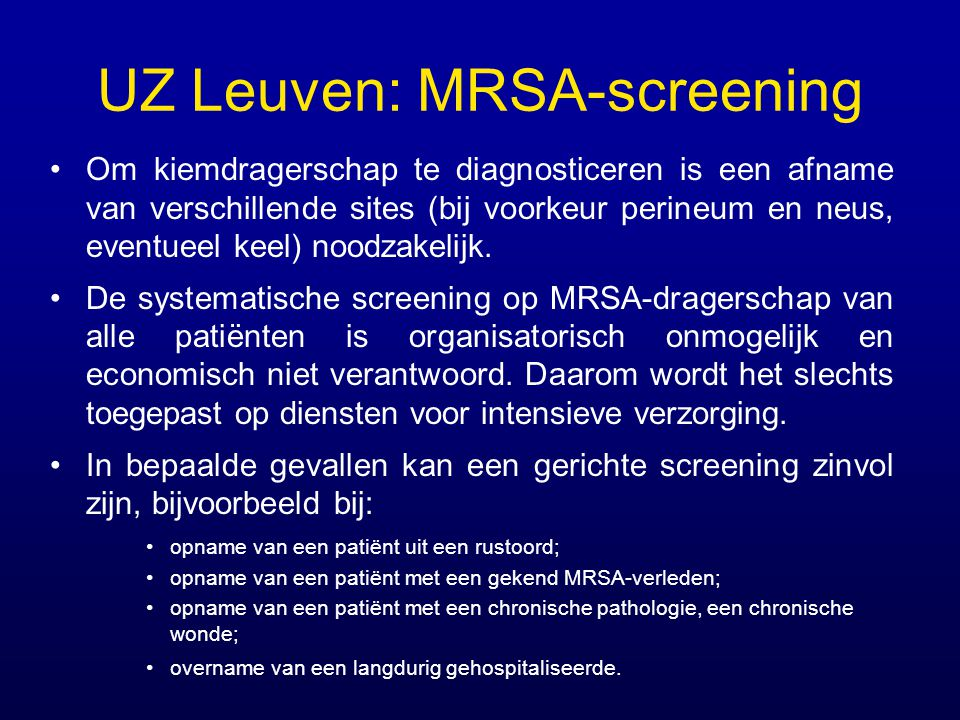 UZ Leuven: MRSA-screening
