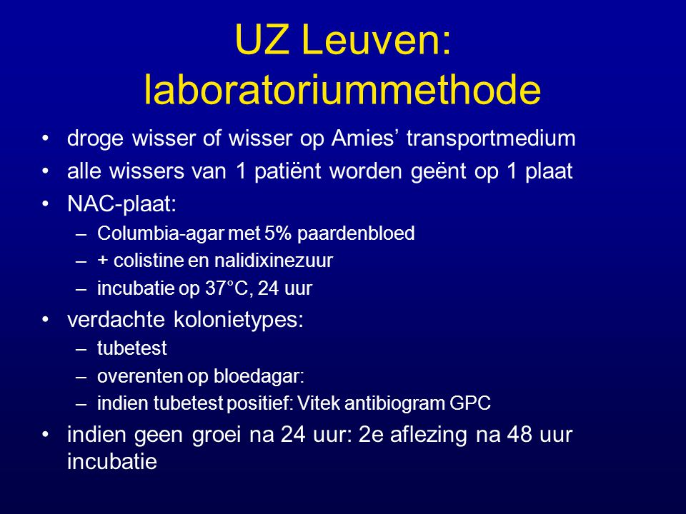 UZ Leuven: laboratoriummethode