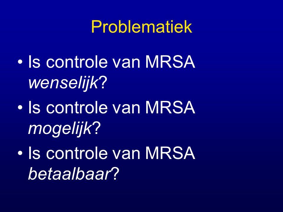 Problematiek Is controle van MRSA wenselijk. Is controle van MRSA mogelijk.