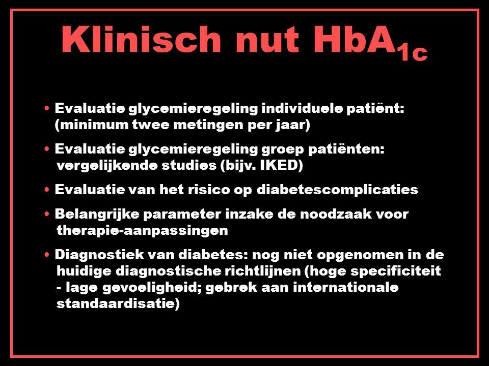 Klinisch nut HbA1c Evaluatie glycemieregeling individuele patiënt: